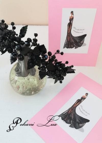 Покана за абитуриентски бал Black Lace- черно и розово