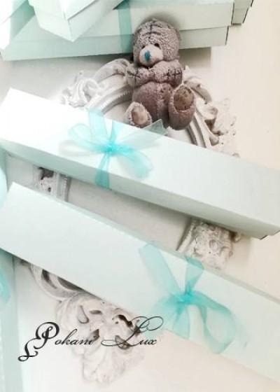 Дизайнерска покана за кръщене с кутийка модел Blue