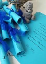 Сватбена покана тип Папирус Перо модел Тюркоаз