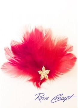 Дизайнерски ръчно изработени брошки - украса за коса с пера и кристали цвят червено Red Bird