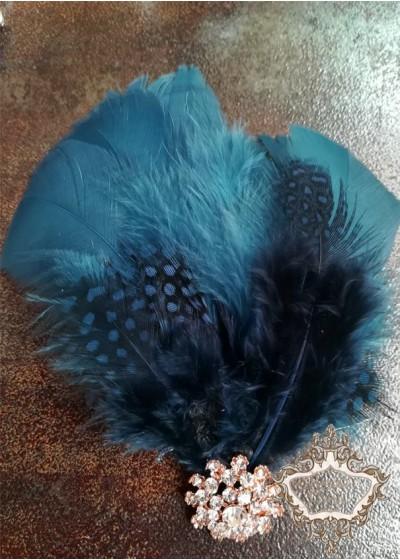 Булчинска украса за коса с пера в тъмно синьо лукс Dark-Blue Bird Lux