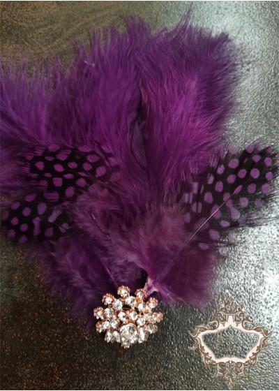 Булчинска украса за коса с пера в лилаво лукс Purple Bird Lux