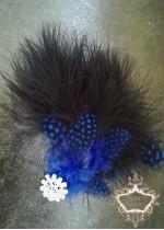 Булчинска украса за коса с пера в кралско синьо и черно Royal Blue Bird