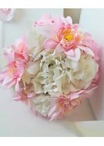 Красив булчински букет с бели и розови далии и божури и сатенена дръжка модел от серията Japanese Blossom by Rosie Concept