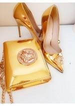 Луксозна чанта за булка и абитуриентка и обувки с висок ток модел Gorgon Gold small
