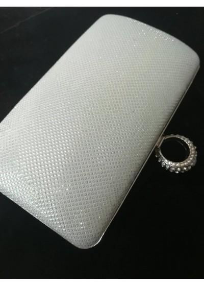Елегантна официална чанта цвят бяла перла