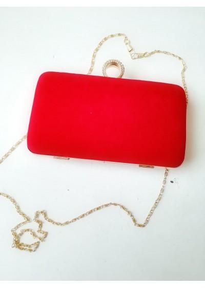 Луксозна официална чанта за абитуриентка от червено кадифе с кристали