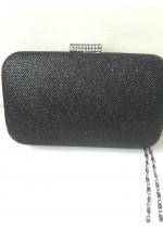 Елегантна чантичка за бал от черен брокат с кристали