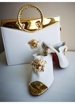 Комплект чанта и обувки висок ток за абитуриентка или булка модел Версаче Gorgon в бяло и златно