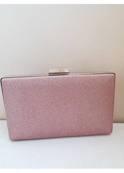 Красива дамска чанта клъч розов брокат