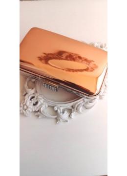 Официална чанта за сватба и бал цвят розово злато с кристали