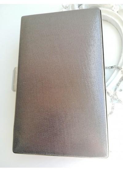 Официална дамска чанта сива перла с розов отблясък