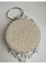 Луксозна дамска чанта за сватба и бал с инкрустирани перли кристали и мъниста Прециоза в цвят слонова кост