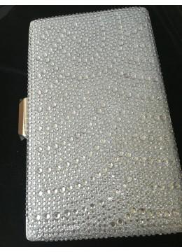 Луксозна дамска чанта цвят сребро с кристали