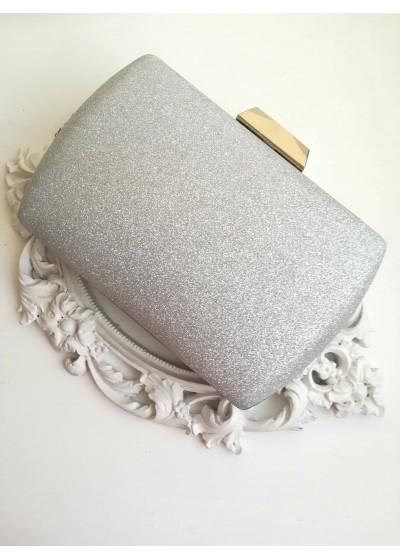 Ефектна булчинска чанта сребърен брокат
