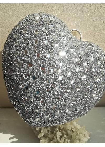 Официална дамска чанта сърце в сребърно с кристали за сватба и бал