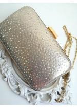 Красива дамска чанта светло златист брокат с кристали