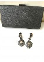 Стилна дамска чанта за официални събития цвят тъмен графит брокат