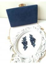 Луксозна чантичка за абитуриентски бал от тъмно синьо кадифе със златен обков и верижка за рамо
