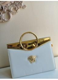 Луксозна дамска чанта за булка модел Версаче бяло и златно