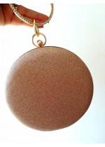 Нежна и ефектна чантичка брокат цвят златна праскова със златен обков и кристали