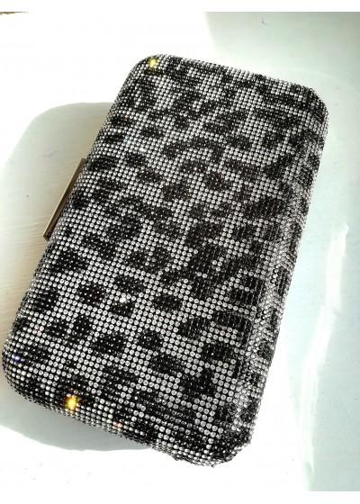 Красива кристална официална чанта с тигрови мотиви в бяло и черно