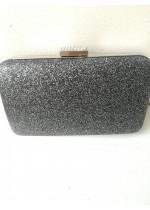 Стилна чанта за абитуриентски бал и сватба в цвят графит брокат с кристали