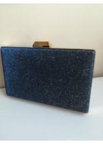 Луксозна дамска чанта тъмно син брокат за абитуриентка и булка