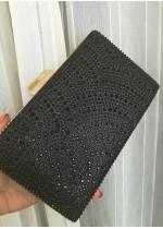 Луксозна официална дамска чанта с черни кристали