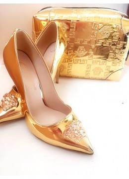 Елегантен и луксозен комплект официална чанта и обувки в златно модел Gorgon Gold