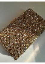 Луксозна кристална дамска чанта за булка и абитуриентка модел Crystal Gold Rose