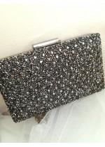Кристална дамска чантичка цвят тъмно сиво с кристали Сваровски за сватба Crystal Dark Rose