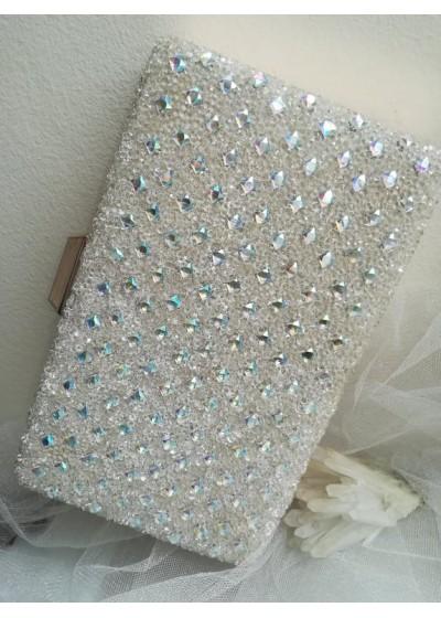 Кристална дамска чантичка цвят екрю с кристали Сваровски за сватба