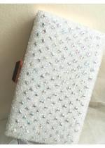 Кристална дамска чантичка цвят бяла перла с кристали Сваровски за сватба Crystal White Rose