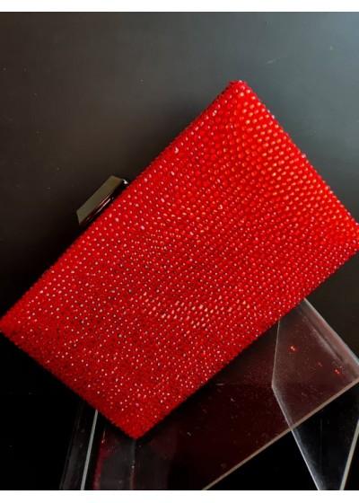 Дамски клъч с червени кристали Сваровски Red Queen
