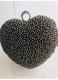 Елегантна официална чанта сърце с кристали Сваровски и мъниста цвят сив графит за бал и специални събития