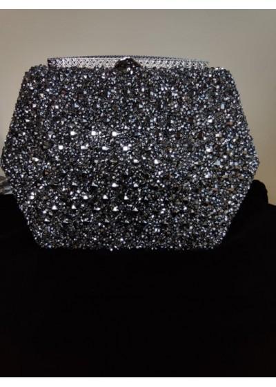 Официална дамска чанта с кристали Сваровски цвят черно и графит и обков с бели кристали