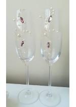 Сватбени чаши с високо столче с украса с перли и кристали в розово серия Japanese Blossom