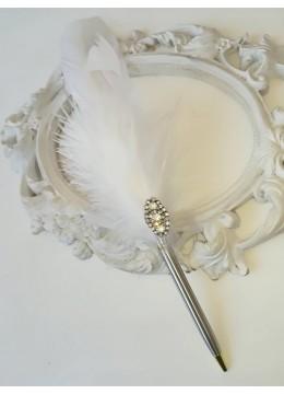 Сватбен химикал с кристали и пера модел Silver Luxury