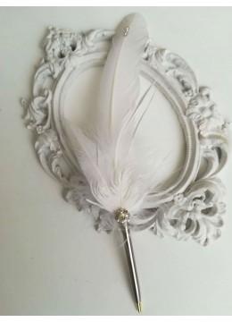Луксозен химикал за сватба с бели пера за подписването Silver Shine
