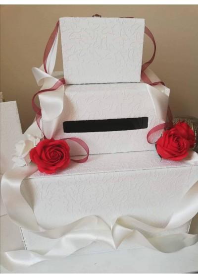 Сватбена кутия за пожелания в червено и бяло - Red Roses Passion 3 реда