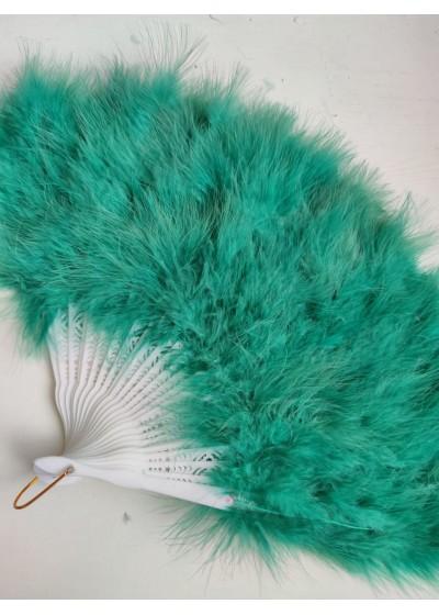 Луксозно ветрило за булка от маслено зелени пера - модел Де Лукс
