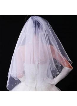 Нежен двоен сватбен воал с перли в снежно бяло модел Agatha размер M