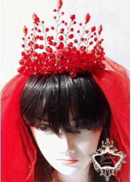 Воал за булка в традиционен червен цвят модел Megan